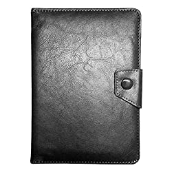 IndiSmack Black PU Leather Book Cover Case cum Stand for 7 inch Tablets