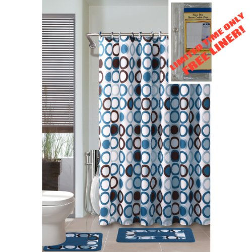 BLUE/WHITE/BROWN 4-Piece Bathroom Set: 2-Rugs/Mats, 1-Fabric Shower Curtain, 12-Fabric Covered Rings PLUS FREE Clear Vinyl Liner!