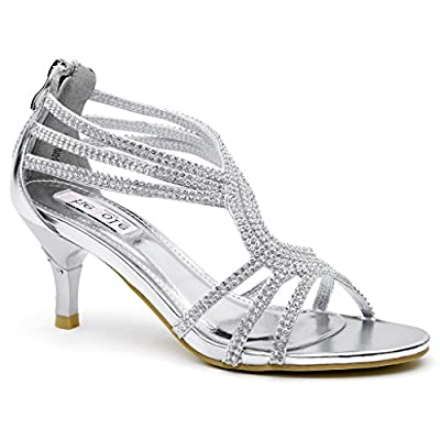 SheSole Womens Glitter Low Heels Sandals Evening Party Wedding Shoes