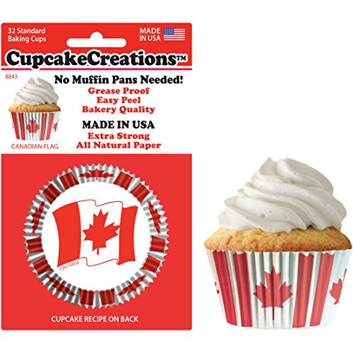 Canadian Flag Cupcake Baking Cup Liners 32 Count by Cupcake Creations