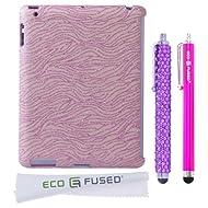BLING IPad 3 (Pink) Sparkling Zebra Design / One (Purple) Stylus / One (Hot Pink) Stylus - ECO-FUSED Microfiber...