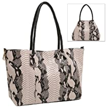 MG Collection Gray Faux Snakeskin Convertible Bucket Shopper Tote Shoulder Bag