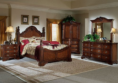 "The ""All Wood"" Traditional Cherry Bedroom Set designed by HomeLine is an"