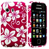 Wayzon Premium Quality Case Cover Skin Pouch Shelll With TPU Protection Gel In An Elegant White Floral Design On White Base For Samsung Galaxy Y S5360 Phone