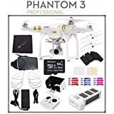 DJI Phantom 3 Professional Quadcopter with 4K Camera and 3-Axis Gimbal + DJI Prop Guard for Phantom 3 (4-Pack) + Sony 64GB microSDXC Card + Microfiber Cleaning Cloth + DJI Remote Bundle