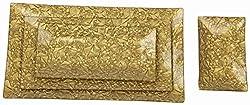 Home Stopper Set of 4 Rectangular Sparkling Gold Serving Platters