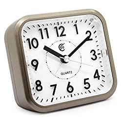 JCC Silent Sweep Second Hand Analog Bedside Snooze Battery-operated Quartz Alarm Clock (Gold)