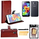 Foxnovo 4-in-1 Crazy Horse Pattern PU Wallet Card Holder Flip Case Cover Stand Set for Samsung Galaxy S5 /i9600 (Brown)