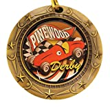 Pinewood Derby World Class Medal with Red, white & blue v-neck ribbon / Cub Scouts