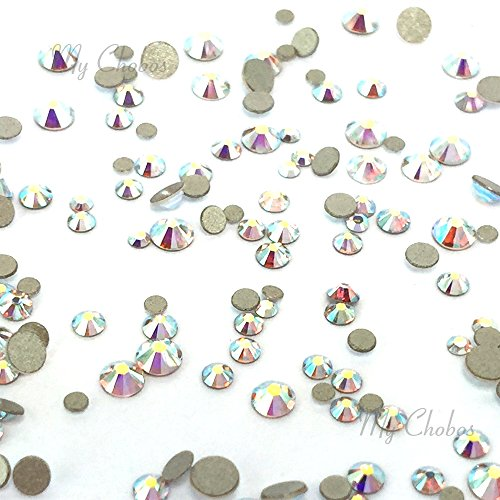 CRYSTAL AB (001 AB) Tiny small sizes mixed with Swarovski 2058 Xilion Rose flatbacks sizes ss3, ss5, ss6, ss7, ss9, ss10 No-Hotfix rhinestones nail art 144 pcs (1 gross) *FREE Shipping from Mychobos (Crystal-Wholesale)* (Swarovski Crystal Nail Art compare prices)