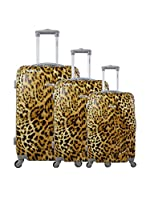 ZIFEL Set de 3 trolleys rígidos (Leopardo)