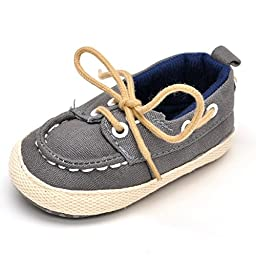 Baby Denim Lace-up Crib Shoes Gray US 3