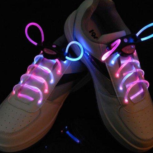 Agptek Pink-Blue 3 Mode Led Light Up Shoe Shoelaces Shoestring Flash Glow Stick Strap For Party Hip-Hop Skating Running Cosplay Decoration