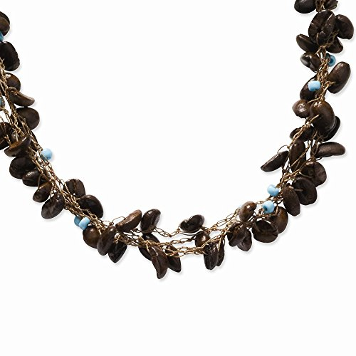 Coffee Bean & Blue Bead Spongie Necklace