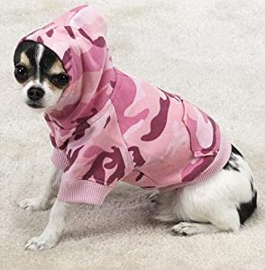 Casual Canine Cotton Camo Dog Hoodie, Large, Pink