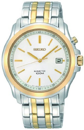 Seiko Kinetic Men's Watch SKA490P1 with a White Dial and a Two Tone Stainless Steel Bracelet