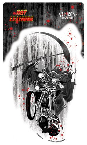 "Hot Leathers - Grim Blasting Motorcycle Reaper Biker etiket Sticker - 4"" x 7.25"" - Weather Resistant, Long Lasting for Any Surface"