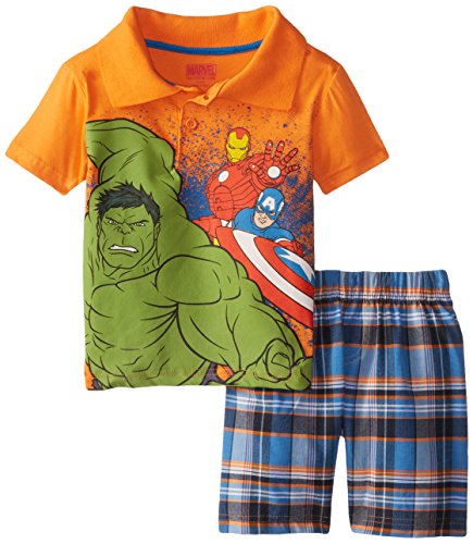 Marvel Little Boys' Avengers  Polo Woven Plaid Short Set