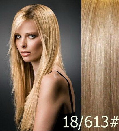 """16"""" Clips In Remy Human Hair Extension Attach Straight Light Caramel Brown&Light Blond Mix 18/613"""