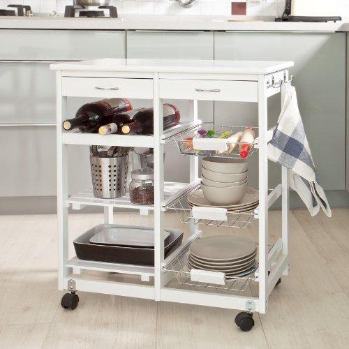 SoBuy® Carrello di servizio, Scaffale da cucina,Carrello multiuso, in legno, FKW04-W,IT