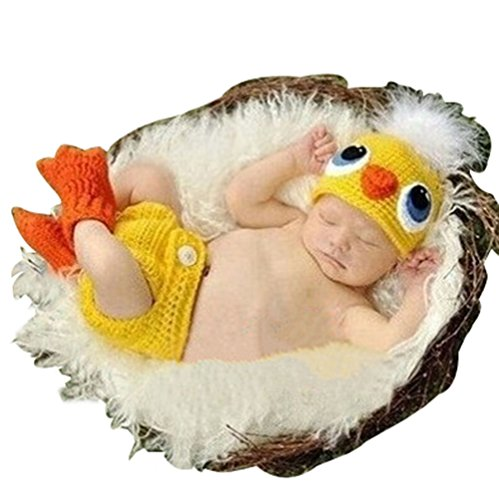 Yellow Chicken Crochet Cotton Knit Costume Photo 0-6 Months