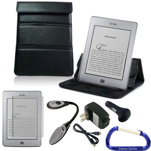 Gizmo Dorks Leather Case / Stand (Black), Screen Protector, Led Light, And Charging Bundle With Carabiner Key Chain For The Amazon Kindle Touch And Touch 3G