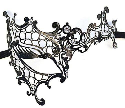 Rhinestone Phantom Laser Cut Metal Venetian Masquerade Mask Women Party Ball Vintage Imperial Carnival Glass