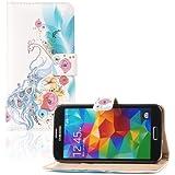 tinxi® Kunstleder Tasche für Samsung Galaxy S5 Schutzhülle Flipcase Schale Cover Etui Skin Standfunktion mit Karten Slot Pfau Muster