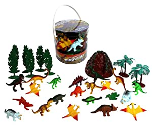 Dinosaur Action Figures - Big Bucket of Dinosaurs - Huge 30 Piece Set Full of Unique Fun by SCS Direct