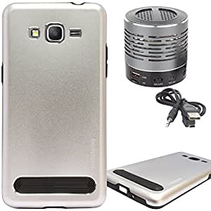 DMG Motomo Ultra Tough Metal Shell Case with Side TPU Protection for Samsung Galaxy Grand Prime G530H (Silver) + Wireless Bluetooth Speaker with Party LED Lights