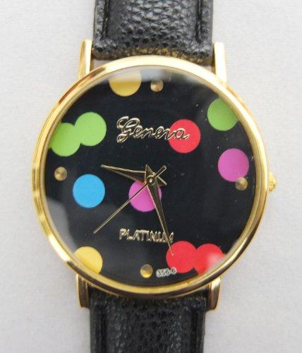 U-Beauty Hot New Colorful Dotting Black Leather Band Women Lady Watch High Quality Quartz Watches