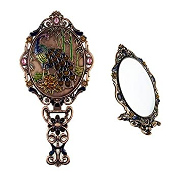Ivenf Large Size Vintage Metal Oval Make-Up Hand/Table Mirror, Peacock On Rock In Bamboo Forest, Rose Copper