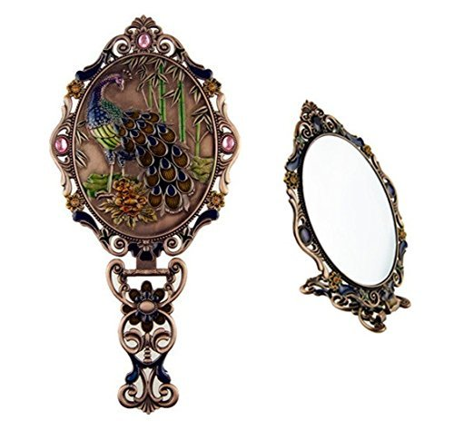 Ivenf Large Size Vintage Metal Oval Make-Up Hand/Table Mirror, Peacock On Rock In Bamboo Forest, Rose Copper 0