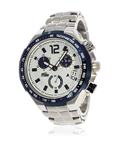 Pit Lane Uhr mit Miyota Uhrwerk Pl-1002-1 silberfarben 45 mm