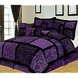 7Pcs Queen Safari Purple and Black Patchwork Micro Suede Comforter Set