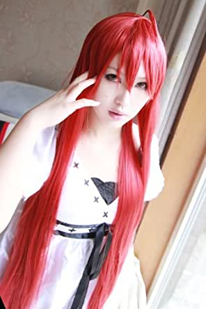 shakugan no Shana Dark Red 100cm long stright Cosplay Wig+ red wig cap