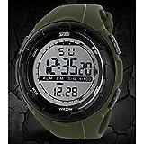 4 色 Skmei 腕時計 メンズ レディース ダイバーズ LED ライト デジタル表示 防水 ストップウォッチ アラーム スポーツ アウトドア カジュアル ウォッチ デジタル 多機能 腕 時計 (グリーン) 68