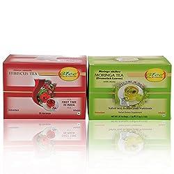 GTEE Hibiscus Tea Bags & Moringa Tea Bags (25 Tea bags X 2PACKS)