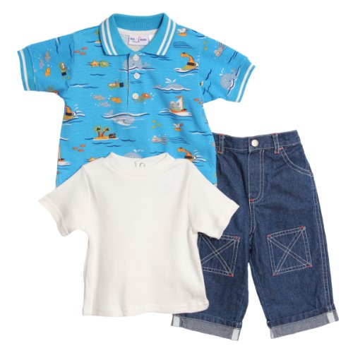 Bt Kids Newborn Baby Boys 3 Piece Blue Beach Polo Shirt White T-Shirt Jeans Set