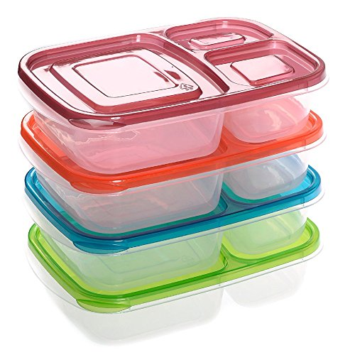 Lunch Boxes 4 x Quick 3-compartment Bento Box Lunch Containers Classic Set of 4 Color (Freezer Coffin compare prices)