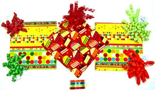 The Gift Wrap Company Happy Birthday Wrapping Set with Timeless Birthday Wrap and Ribbon/Bow Set