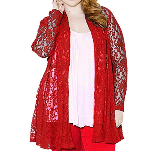Elevin(TM)Women Lady Floral Lace Hollow Coat Oversize Cardigan Blouse Top Jacket (XXXL, Red)