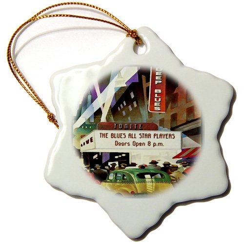 Florene - Art Deco and Nouveau - image of art deco theatre district with taxi - Ornaments - 3 inch Snowflake Porcelain Ornament