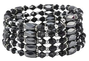 Black Crystal Magnetic Genuine Hematite Bead Necklace, Hematite Bracelet, Hematite Wrap, Hematite Anklet, HW8