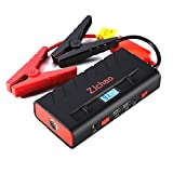 Emergency Car Jump Starter, ZJchao Portable Power Bank Auto Car Battery Booster Built-in LED Flashlight USB Charging Port Safety with Powerful 500A 13600mAh Peak Current - Multi-Function Vehicle Kit