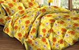 Bombay Dyeing Tulipia 100 TC Polycotton Double Bedsheet and 2 Pillow Covers - Orange