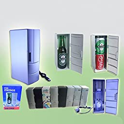 Set Cooling And Heating Functions As One Mini USB Powered Fridge For Beverage Drink Cans in Cubicle/Car and Home office Which Can Be Placed Within Two Drinks (BLACK)