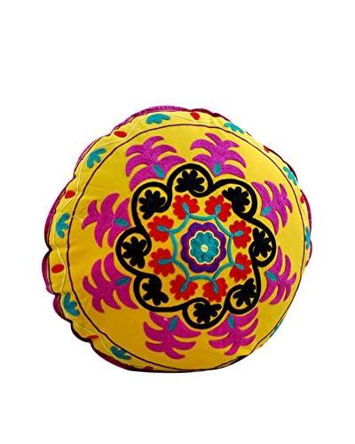 Round Floor Pillow with Swirl Design, Yellow