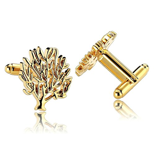 epinki-stainless-steel-funny-tree-fortune-gold-mens-cufflinks-and-studs-set