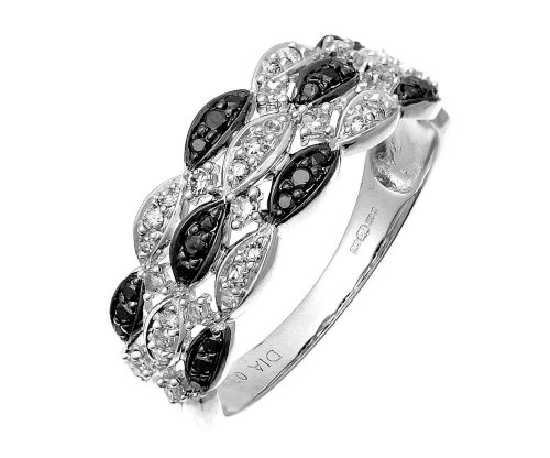 9ct White Gold Black Diamond Marquise 3 Row Eternity Ring - Size P